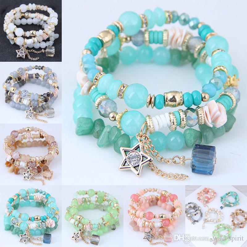 Haute qualité ethnique bohème colorée Bracelets corde élastique naturel multi-couche bracelet en perles femmes Bijoux de mariage cadeau d'anniversaire M65Y