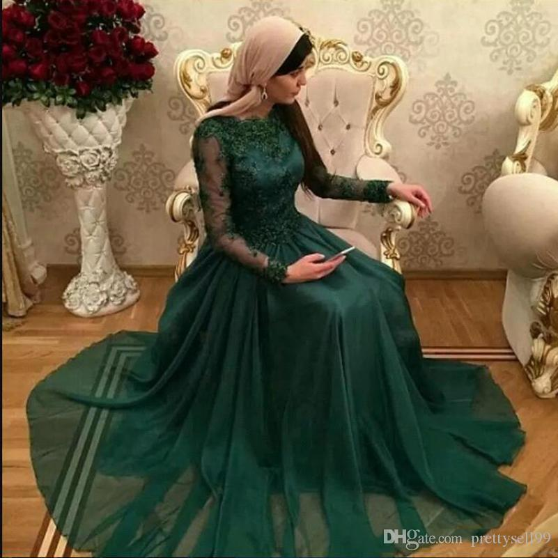 Dark Green Arabic Long Sleeves Lace Prom Dresses 2019 with Appliques Sweep Train Chiffon Formal Evening Party Gowns