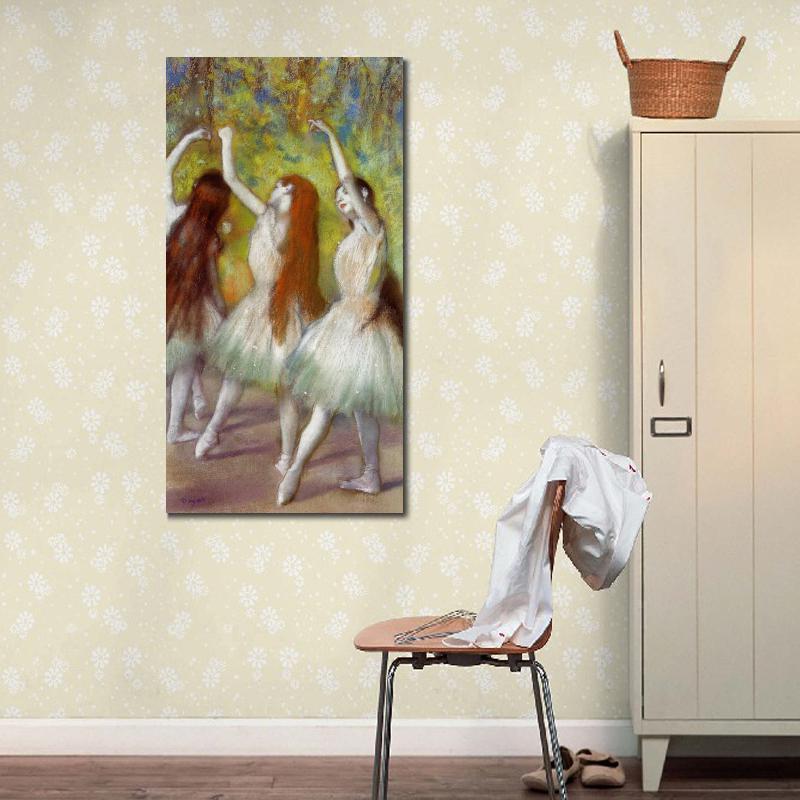 Dançarinos arte ballet impressionistas em pinturas a óleo verde Edgar Degas reprodução de alta qualidade decoração de casa pintada à mão
