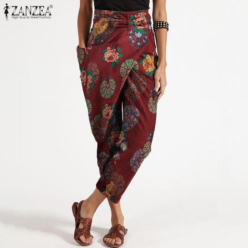 2020 ZANZEA Summer Floral Printed Harem Pants Women Casual Belted Turnip Trousers Vintage Cotton Long Pantalon Palazzo Kaftan