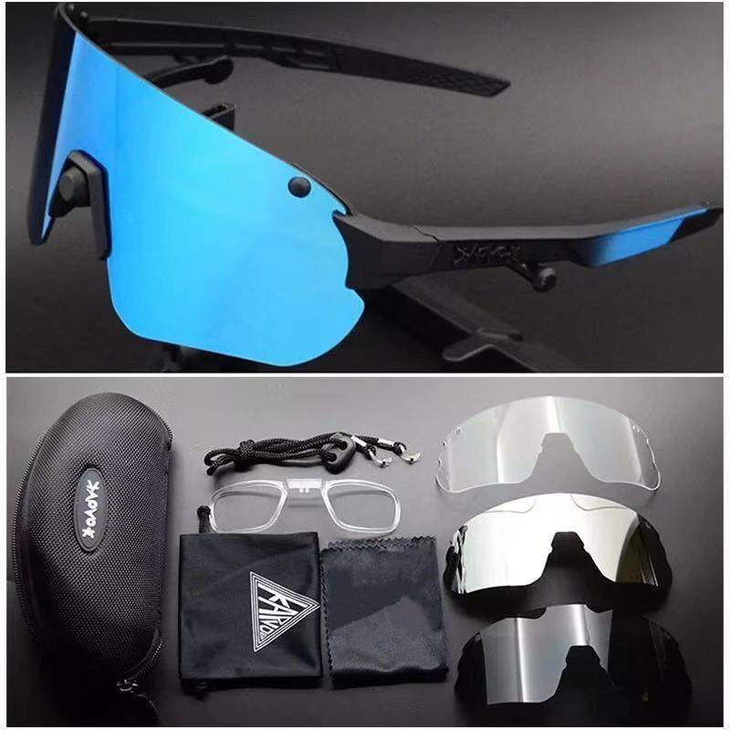 Neue Design-einen.Kreislauf.durchmachenglas Bike Brillen für Männer Frauen polarisierten Radfahren Brille UV400 4 Objektiv MTB Sonnenbrille sprots Brillen mit Kasten