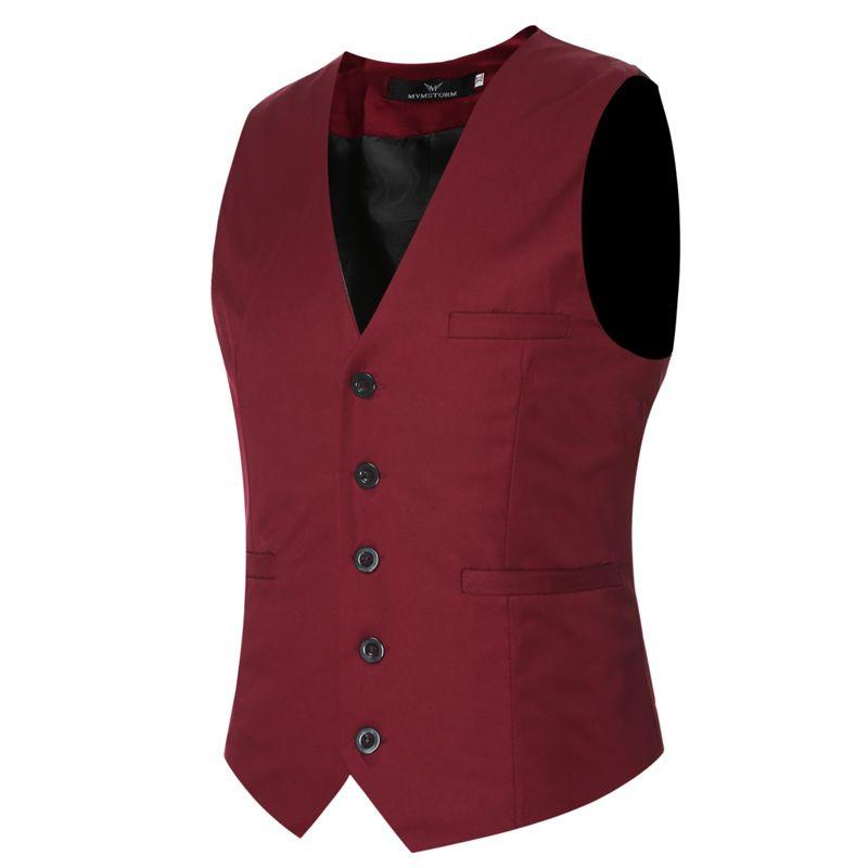 Markyi Plus Taille 6xl Mode Slim Fit Sans Manches Hommes Gilets De Mariage 9 Couleurs Solide Gilet Hommes Robe Gilets MX190805