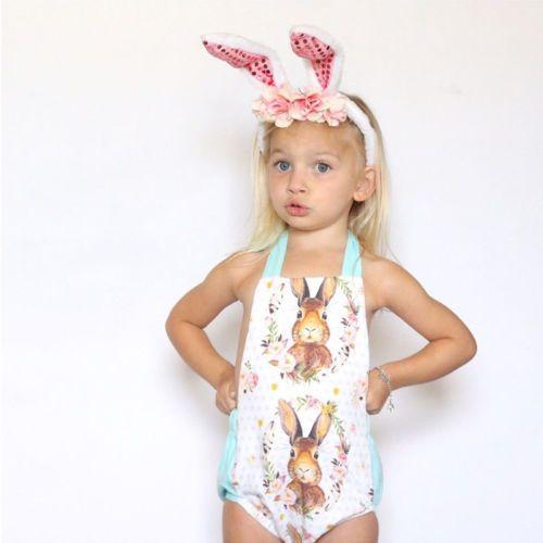Kleinkind-Baby-Mädchen-Baby-Strampler Osterhasen Gürtel Body Ärmel Overall Outfit Set sunsuit