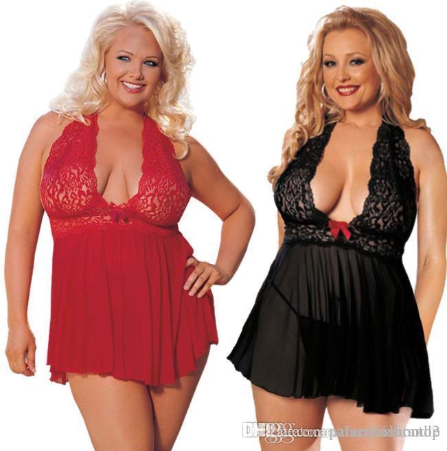 Frauen-reizvolle Pyjamas Spitzehalter plus Größe reizvoller Rock Rot Schwarz 5XL 6XL