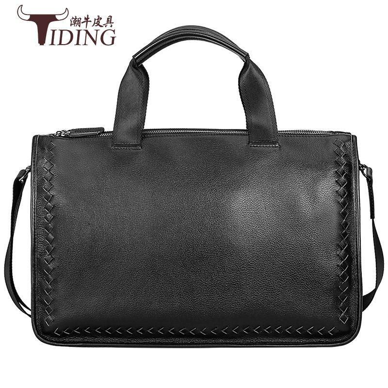 "Men's Briefcases Black Genuine Leather 17"" Business Laptop File Travel Big Hand Tote Bags Shoulder Crossbody bag Handbags"