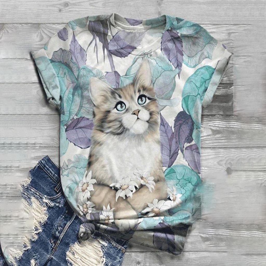 2020 più le donne manica corta signore a maniche corte T-shirt Top 3D Animal Stampato O-Collo SUPERA IL T Moda T-Shirt 606