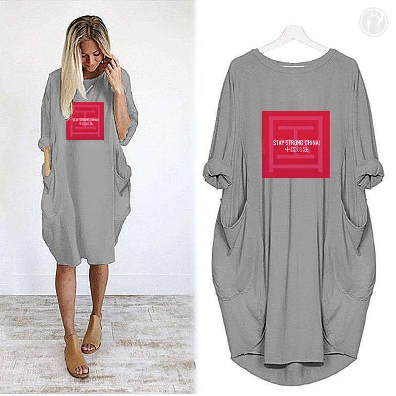 Women Designer Shirts Long Skirt Summer Brand T Shirts Loose Breathable Dress Pocket Luxury Lettters Printed Short Sleeves Lady 11 11