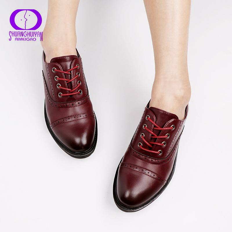 2019 Fashion Woman Spring Autumn Flat Oxford Shoes British Style Vintage Shoes Soft PU Leather Red Casual Retro Brogues CJ191220