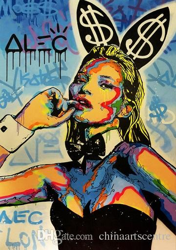 High Quality Alec Monopoly Handpainted & HD Print Abstract Graffiti Art Oil Painting Kate Moss Rabbit On Canvas Wall Art Home Deco