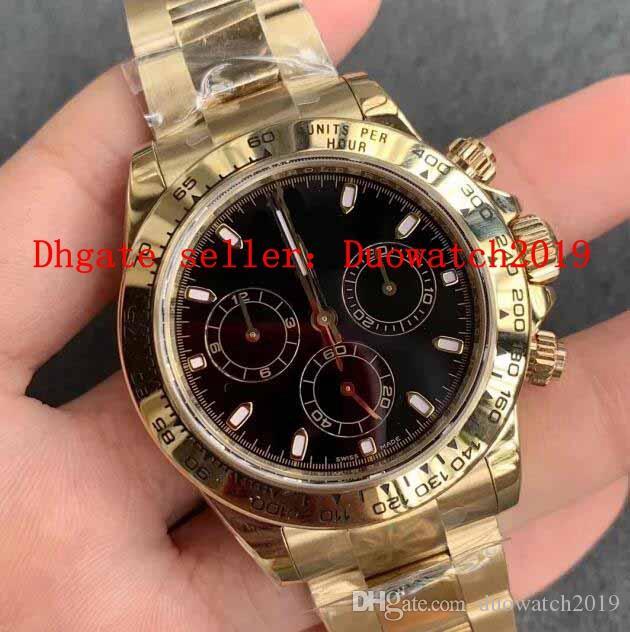 negro blanco Dial para hombre de la mejor calidad automática V3 AR CAL.4130 ETA Movimiento cronógrafo de oro en oro amarillo 904L 116508 Cosmograph reloj