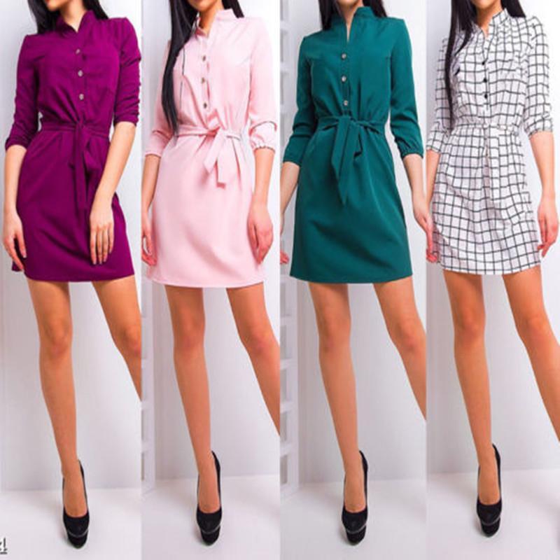 2018 Yeni Sonbahar Standı Yaka Uzun Kollu Dört Renk Botton Düzensiz Büyük Boy Katı Elbise Kadınlar Moda Tide
