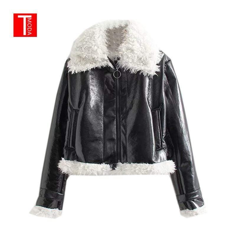 2018 الشتاء الأسود للدراجات النارية زيبر تصميم فو الفراء وهمية الجلود سترة معطف مع طوق امبسوول النساء ملابس خارجية دافئة