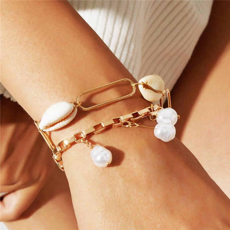 Bohemian imitación perla colgante pulsera brazalete mujeres accesorios de boda doble capa pulsera todo partido