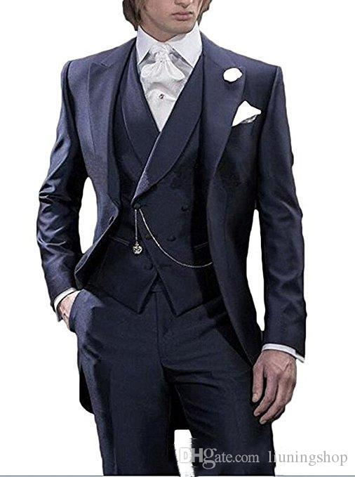 Morning Style Navy Blue Tailcoat Groom Tuxedos Handsome Men Wedding Wear High Quality Men Formal Prom Party Suit(Jacket+Pants+Tie+Vest) 986