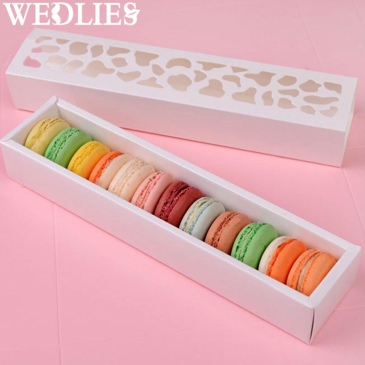 10 pz / set Biscotti Scatola di imballaggio Bianco Hollow Cake Macaron Scatole Contenitore Titolare di Immagazzinaggio Cupcake Eventi Festa di Nozze Regalo di Favore T8190629