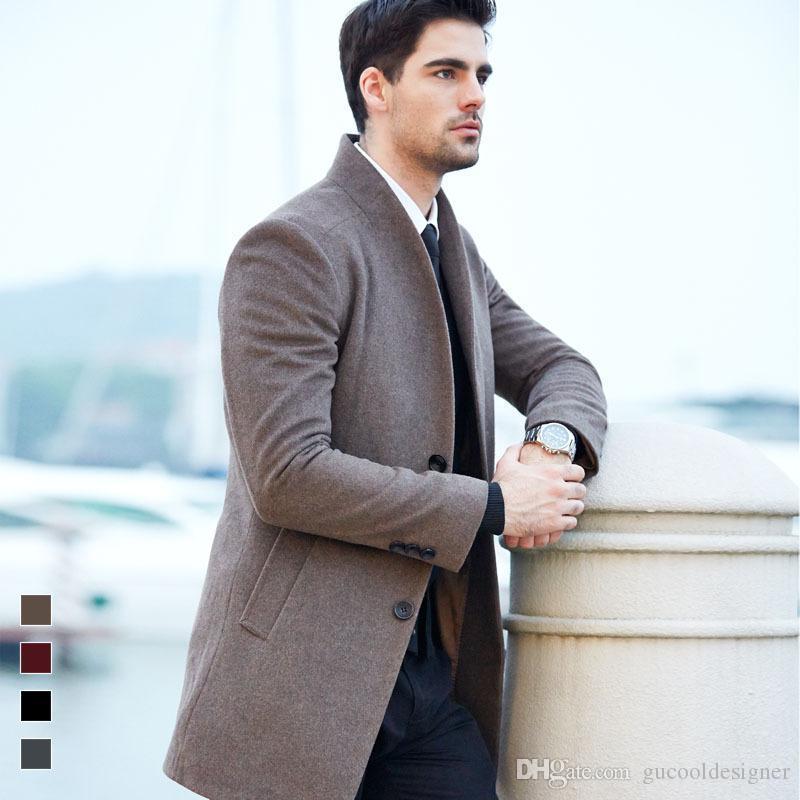 Homens Inverno Blends Outono casacos de marca de lã longo Slim Fit Brasão Casual Jacket Casacos