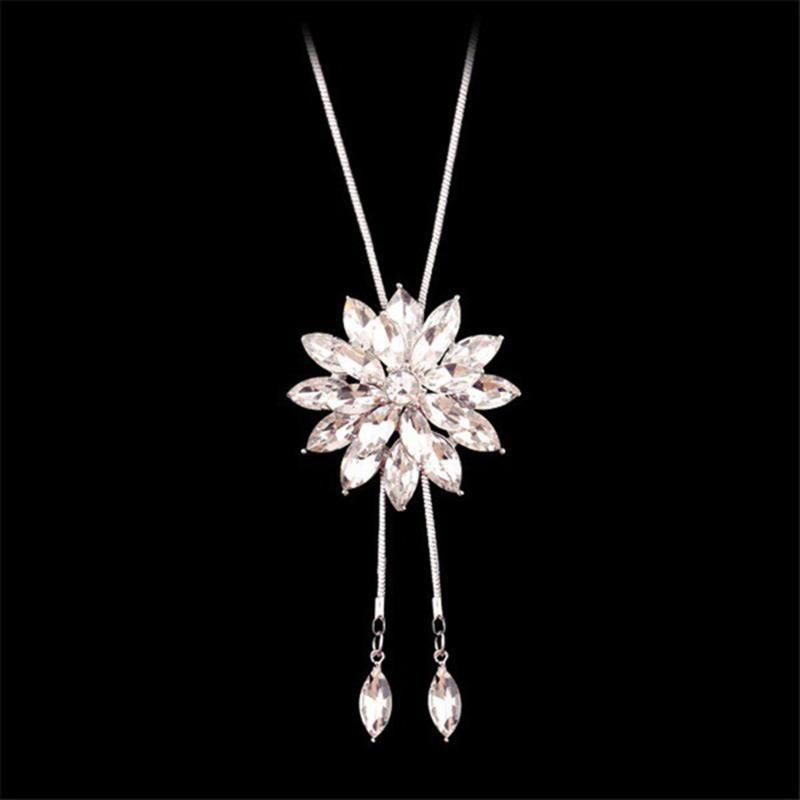 Zirkon Kar tanesi Uzun Kolye Triko Zinciri Moda İnce Metal Zinciri Kristal Rhinestone Çiçek Kolye Kolye