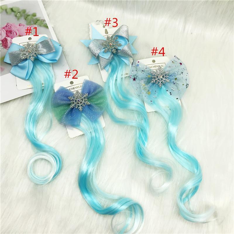 12pcs Fashion Glitter Snowflake Hair Clips Long Wig For Girls Kids Organza Lace Hair Bows Barrettes Cute Lovely Princess Hair Accessories