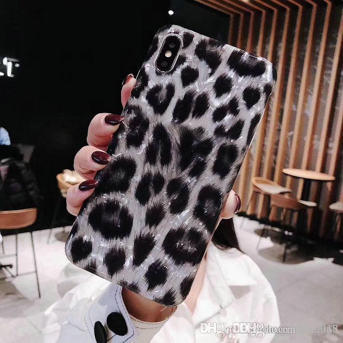 iphone Xs max 7 7plus 8 8plus 6 6plus Xs Xr X TPU Silikon yumuşak durumda 00 Black leopar doku telefonu kasayı