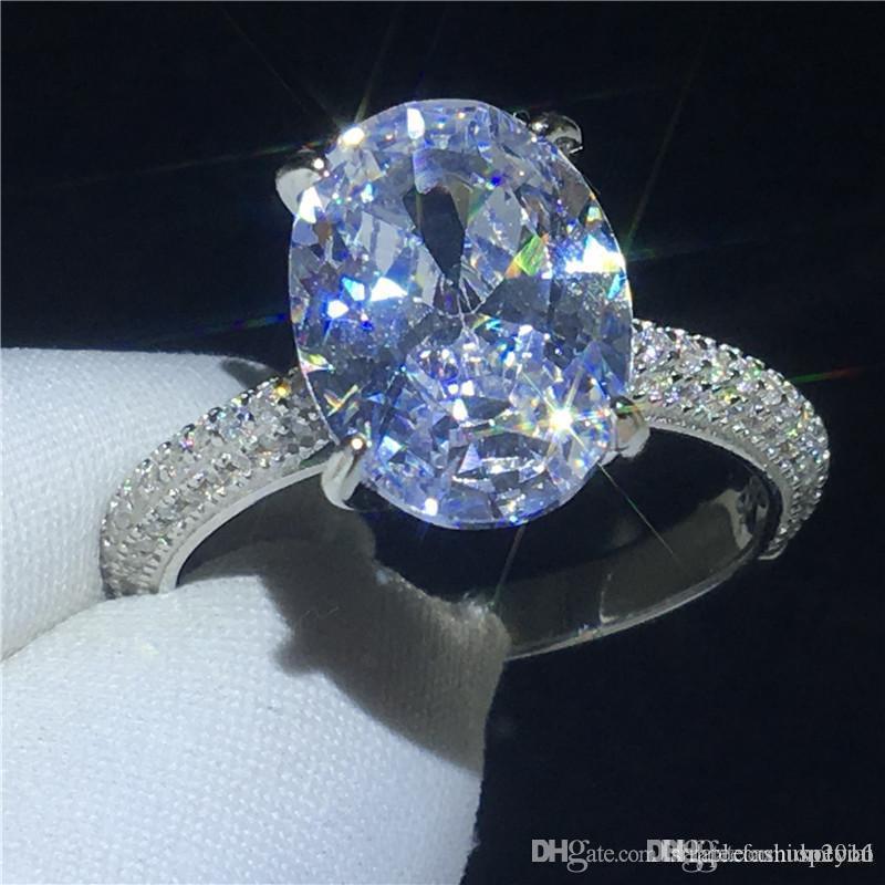 Kadınların Erkekler takı için Diamon Taşlı Nişan düğün bant halkası 4CT Hotyou Deluxe Promise halka% 100 Topraklar 925 ayar gümüş Oval kesim