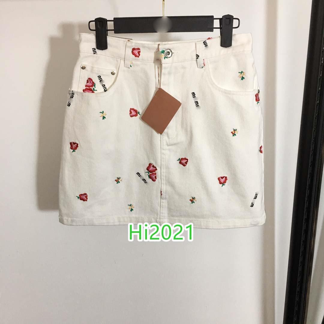 하이 엔드 여성 여자의 캐주얼 라인 스커트 편지 데님 꽃 자수 멀티 포켓 아플리케 접합 중반 드레스 2020 패션 디자인 스커트