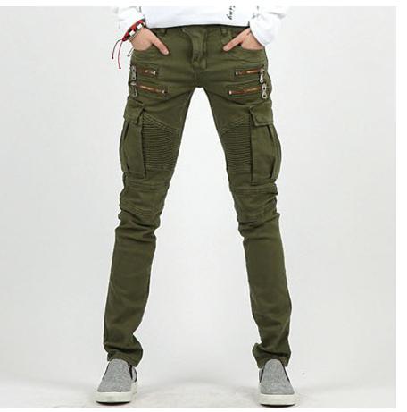Gothic Mens Punk Rock Retro Pants Slim Trousers Multi Pockets Skinny 2Colors New