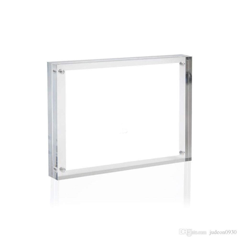 """Cadre photo en acrylique transparent, support à tableau en plexiglas magnétique, afficheurs debout doubles (5x7 """")"""
