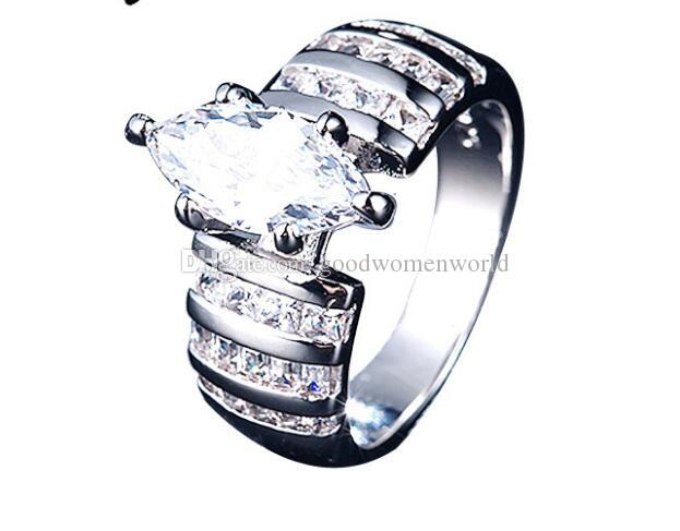 Fast Free shipping 925 silver SONA synthetic diamond engagement ring semi mount 18k white gold wedding Horse eye ladies jewelry ring
