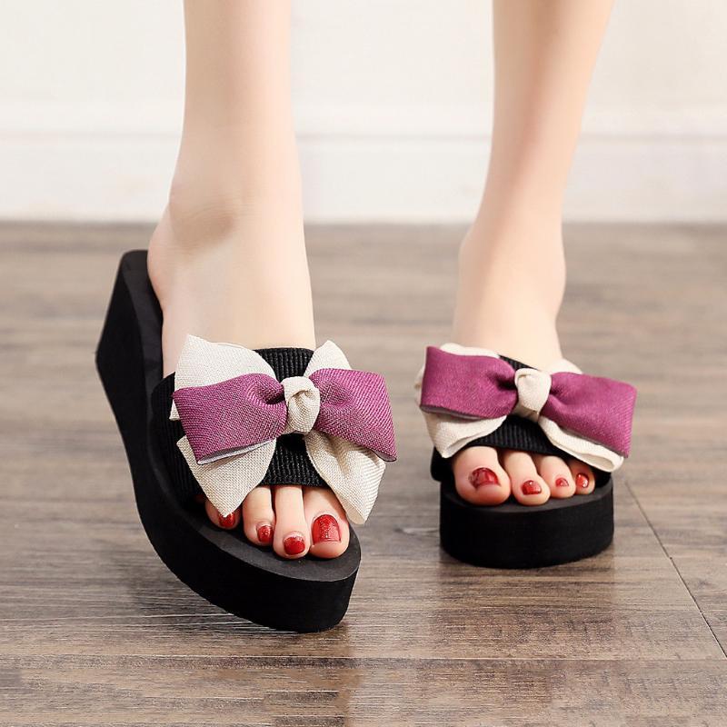 Moda terlik kadın kadına zapatos de mujer için Bowknot Flip-Flop ayakkabı kadın Nefes Kama Açık Burun Plaj terlik