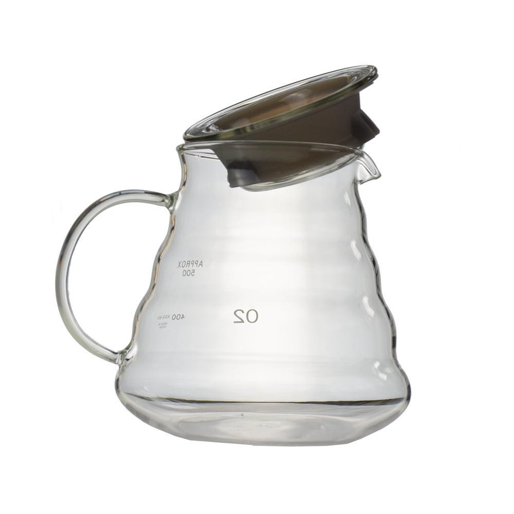 Verre résistant à la chaleur V60 Range serveur 360/580 / 780ML goutte à goutte Bouilloire Bouteille d'eau Café Barista Jug avec poignée en caoutchouc Joint théières
