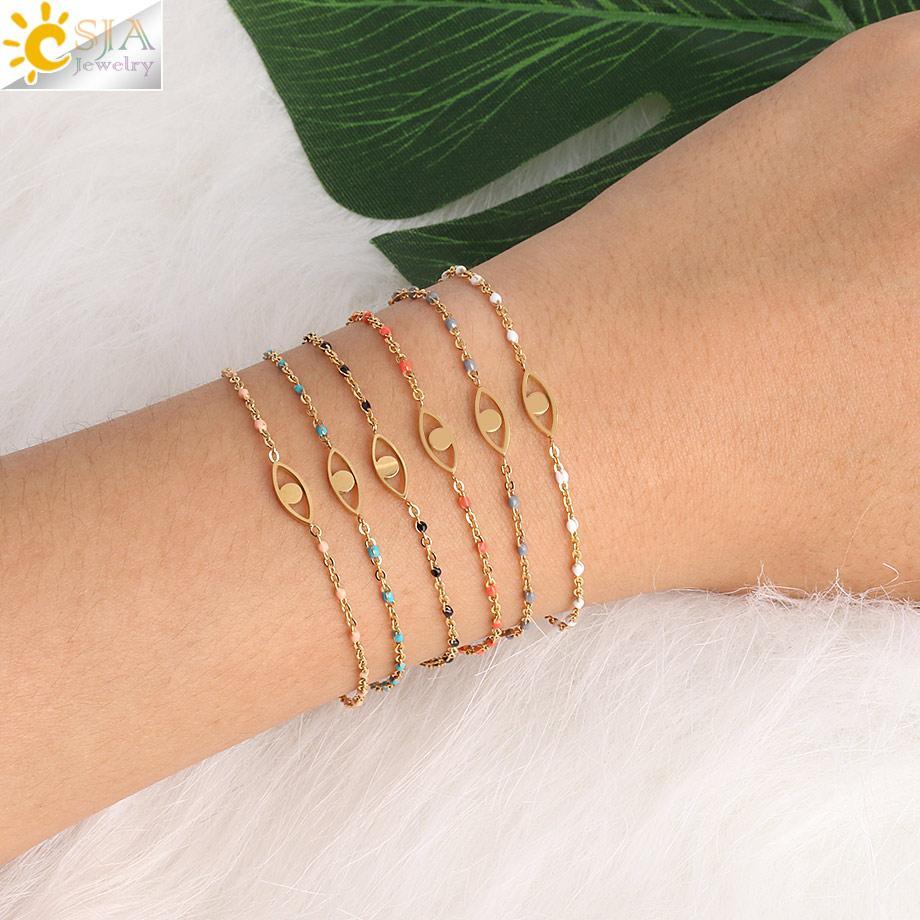 ashion Jewelry Bracelets CSJA Turkish Evil Eye Bracelet Stainless Steel Bracelets for Women Dainty Gold Color Beads Link Chain Mini Femme...