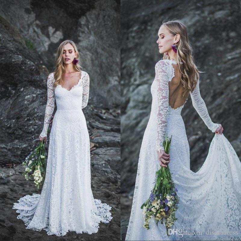 2020 Summer Beach Robes de Mariée col en V manches longues Backless A-ligne Robe de mariée Country Garden Robes de mariée