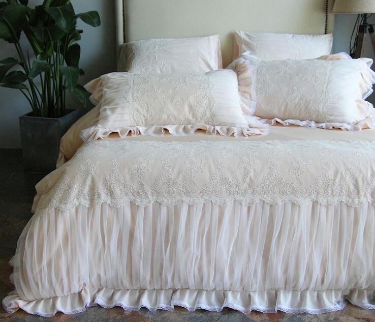 Кружева хлопок Принцесса постельных принадлежностей жаккард роскошные свадебные пододеяльник комплект кровать юбка наволочка белое шампанское
