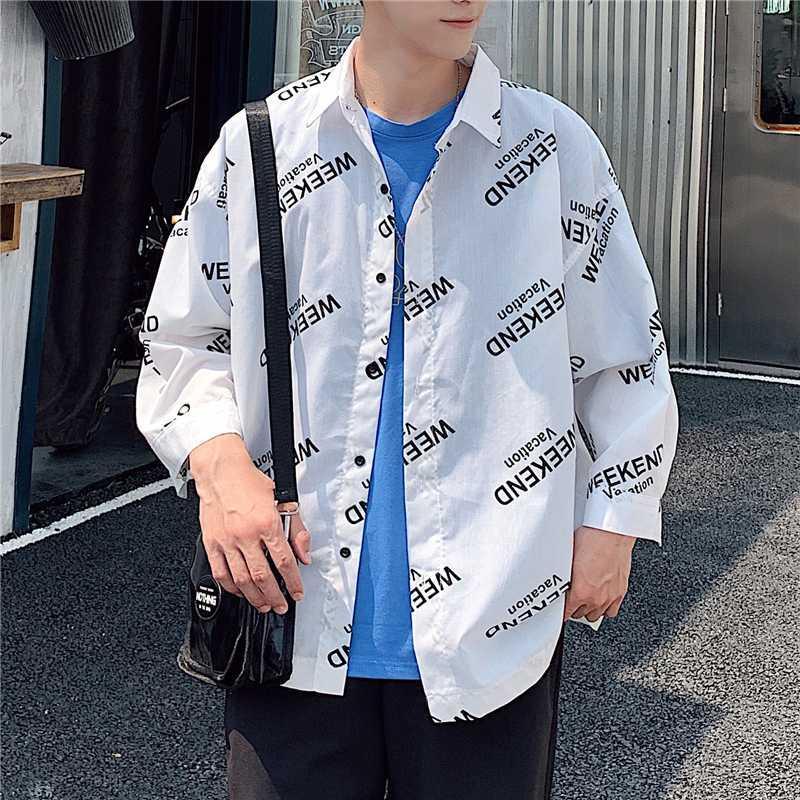 Shirt pour hommes 2020 Hong Kong Nouveau style de grande taille imprimé 3/4 Chemise à manches Version libre de Robe Hommes Chemises Streetwear