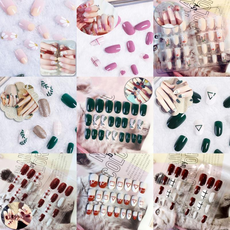 24pcs False Nails Tips Artificial Fake Tips Full Cover Short Press On Nails Art Polish Fingernails Patchwork With Stickers Set