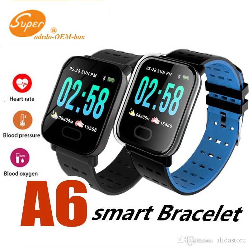 A6 Smart Watch Fitness Tracker Wristband Color Touch Screen Water Resistant Smartwatch Phone with Heart Rate Monitor DHL