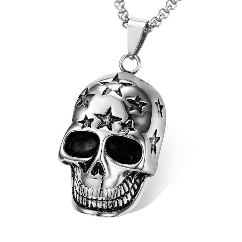 Ventilador libre gótico de los hombres del collar del cráneo de la motocicleta punk Esqueleto Collar con cadena larga pendiente masculino 2020