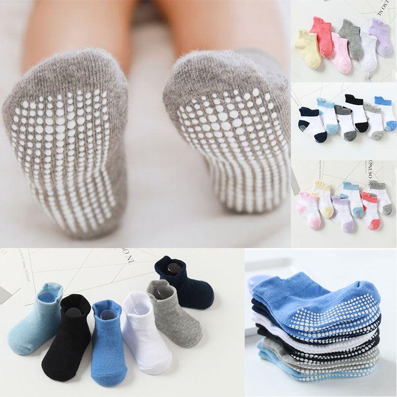 Mãe Crianças 6 pares / lote 0 a antiderrapante 6 anos bebê Piso Socks Meninos Meninas Crianças de algodão Boat Low Cut Sock