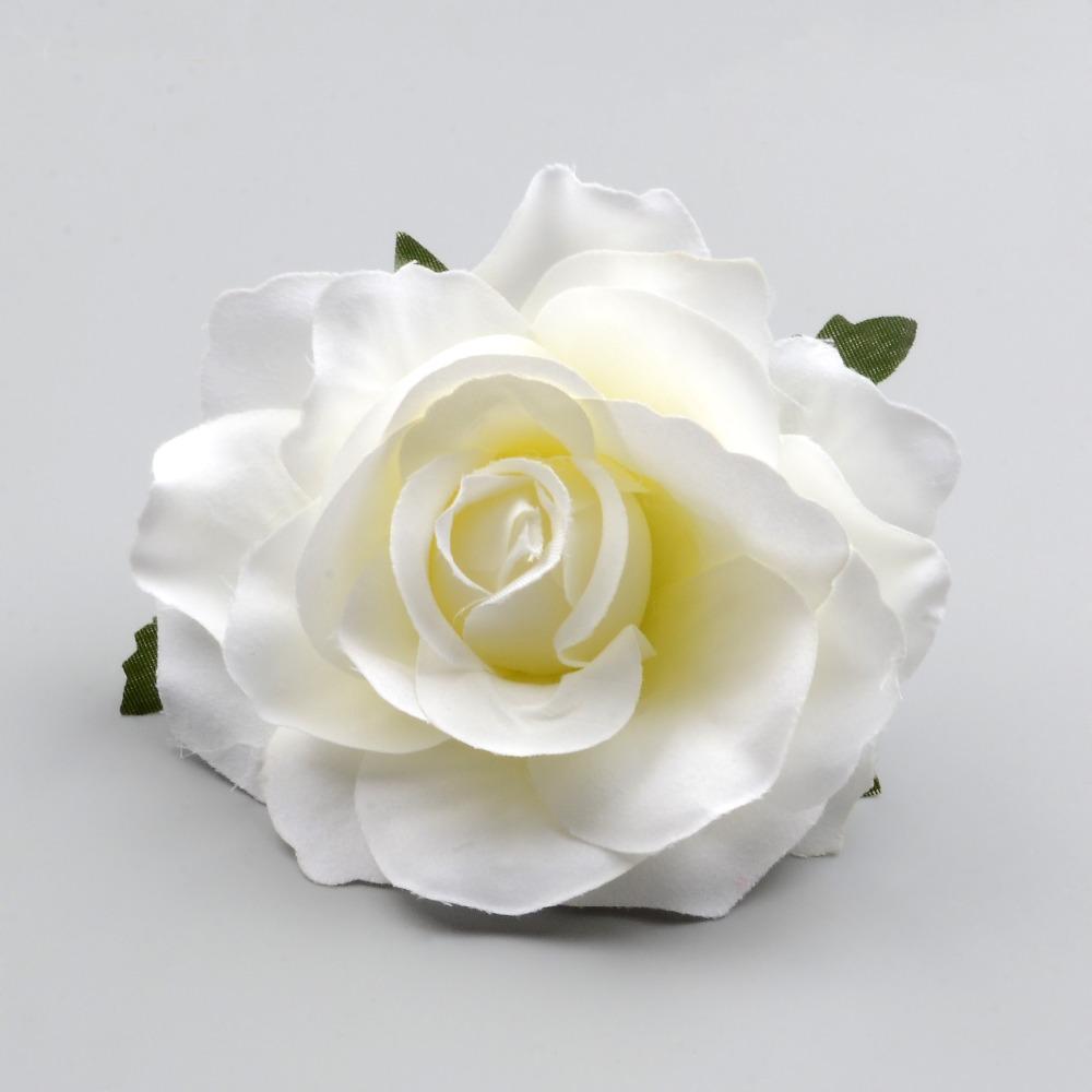 30PCS كبير رؤساء الاصطناعي وردة بيضاء زهرة الحرير للديكور الزفاف DIY اكليلا من الزهور هدية مربع سكرابوكينغ الحرف اليدوية وهمية الزهور