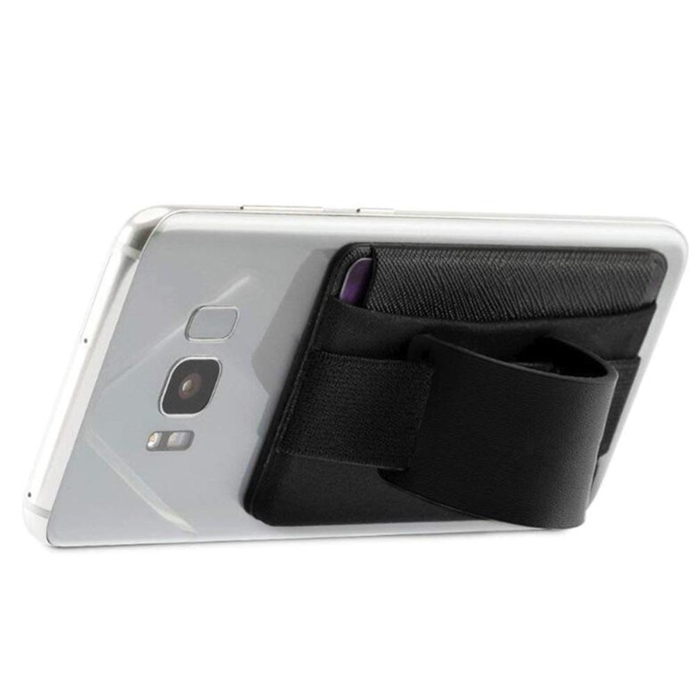 Universal Phone Stand Leather Wallet Practical Finger Anti Slip Sling Grip Tablet Safety Card Holder Pocket Elastic Belt
