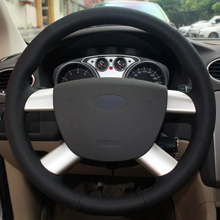 Schwarzes Leder-Lenkradbezug aus Naturleder für Ford Kuga 2008-2011 Ford Focus 2 2005-2011