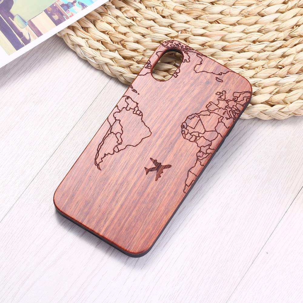 Genuine Wood Case for Iphone 11 XS Max XR Samsung Bamboo Housing Luxury Retro Protector Hard Cover Carving Wooden Phone Shell Wholesale