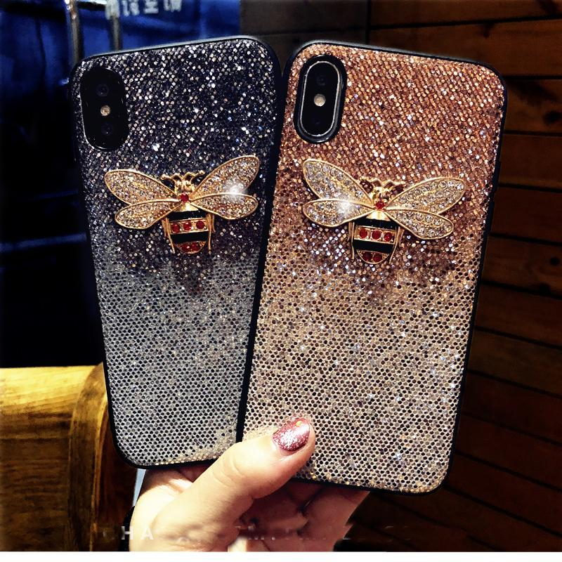 Luxury Metal Diamond Bee Glitter phone case for iphone 7 8 6 6S plus X XR XS MAX Cover for samsung galaxy S8 S9 Note 9 S10 E