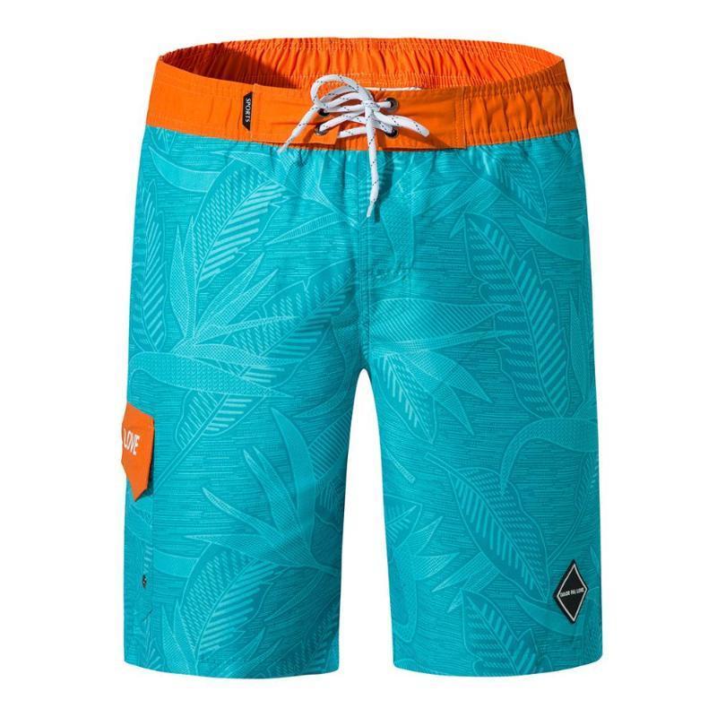 Trunks Männer Strand Shorts elastische Taillen-RUNKS Men Board Shorts mit Taschen Schnell trocknend Surfen Male Plus Größe