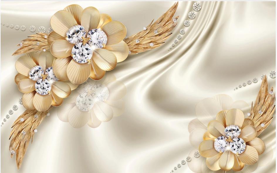papéis de parede personalizados jóias flor Parede dourada de luxo fundo moderno papel de parede para sala de estar