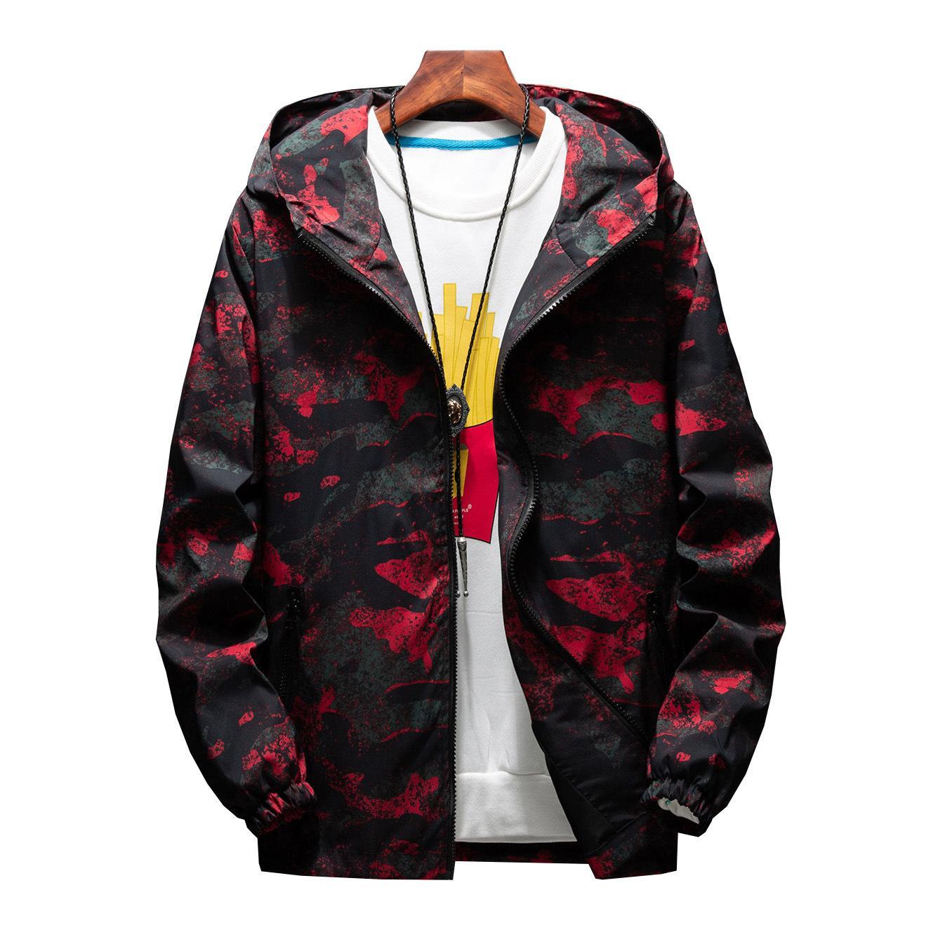 Uomini caldi di vendita Giacca moda mimetica primavera estate autunno marea maschio con cappuccio sottile protezione solare cappotto all'ingrosso M-7XL