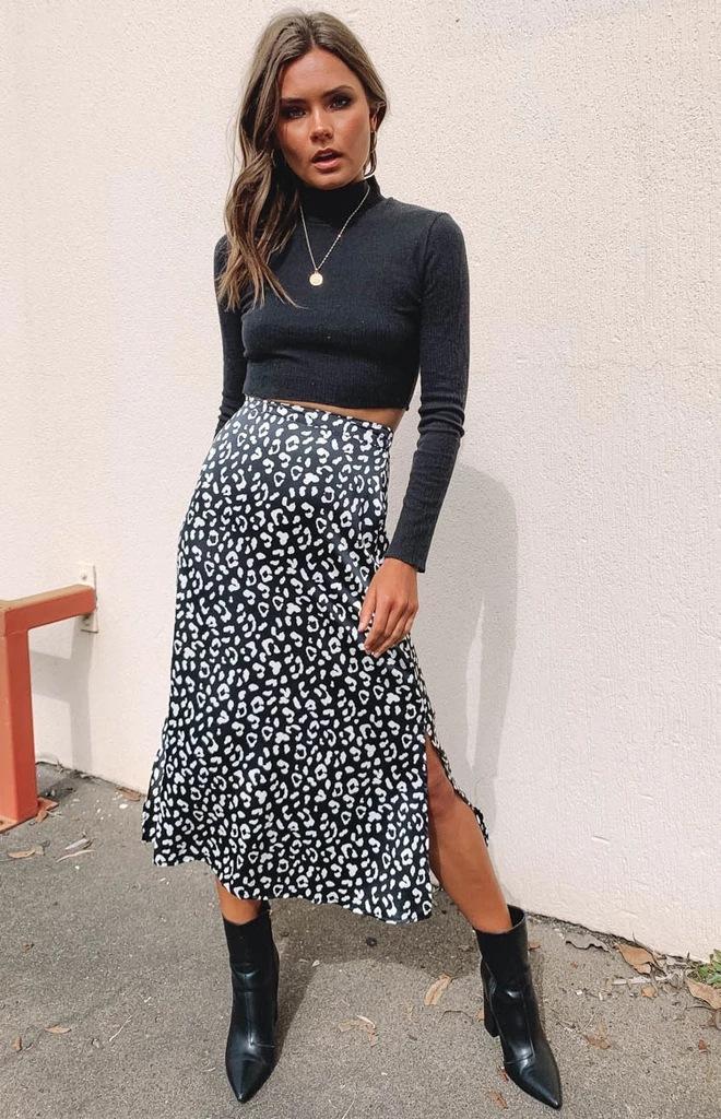 Платья лето должно иметь случайные дама юбка леопардового Split женщины юбка шифон Комфортное Straight Женского
