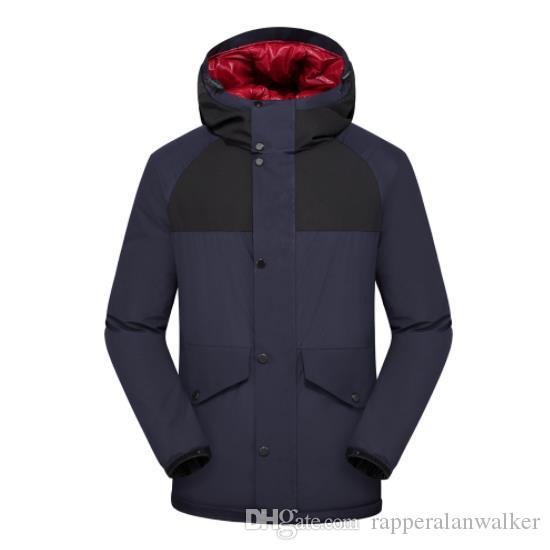 Mens Winter-Designer Warm Artoberbekleidung Solid Color Langarm-Mantel mit Kapuze windundurchlässige wasserdichte Kleidung Homme