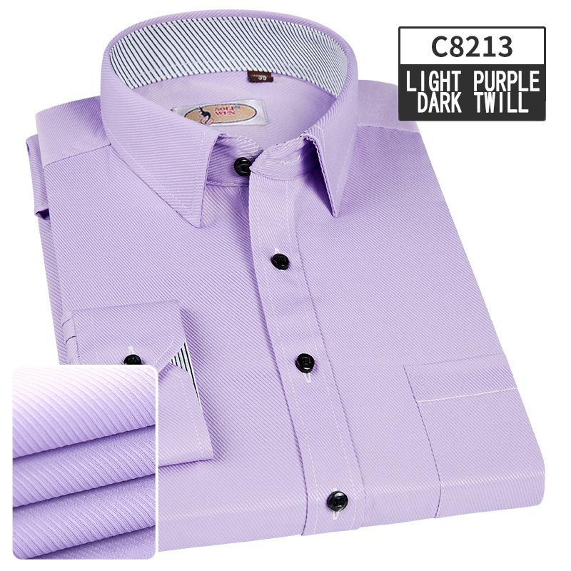 AOLIWEN2019 Marca de negocios cómoda camisa de manga larga de los hombres de impresión hombres camisa ropa casual de alta calidad Bluepurple 5XL