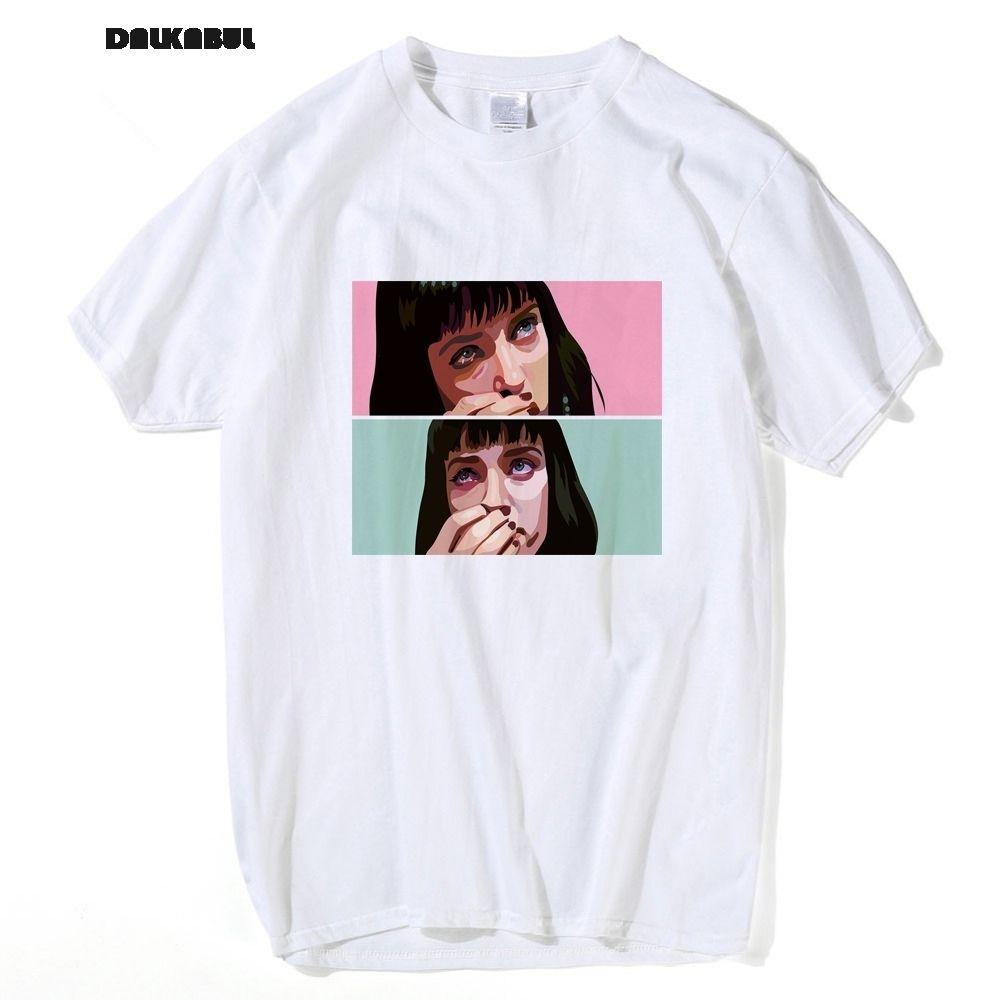 Movie Pulp Fiction T Shirt Uomo Uma Thurman Mia Wallace Quentin Tarantino Tees Top manica corta Abbigliamento 3xl Y19072201